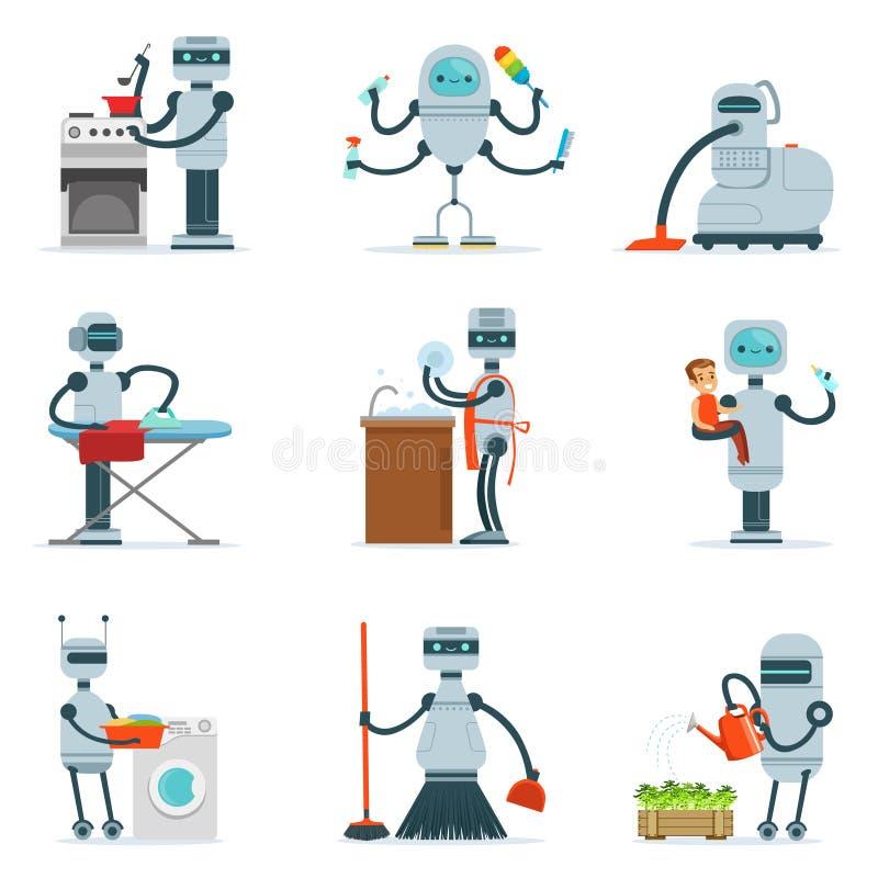 Робот домочадца домоустройства делая домашнюю уборку и другую серию обязанностей футуристической иллюстрации с андроидом холопки иллюстрация вектора