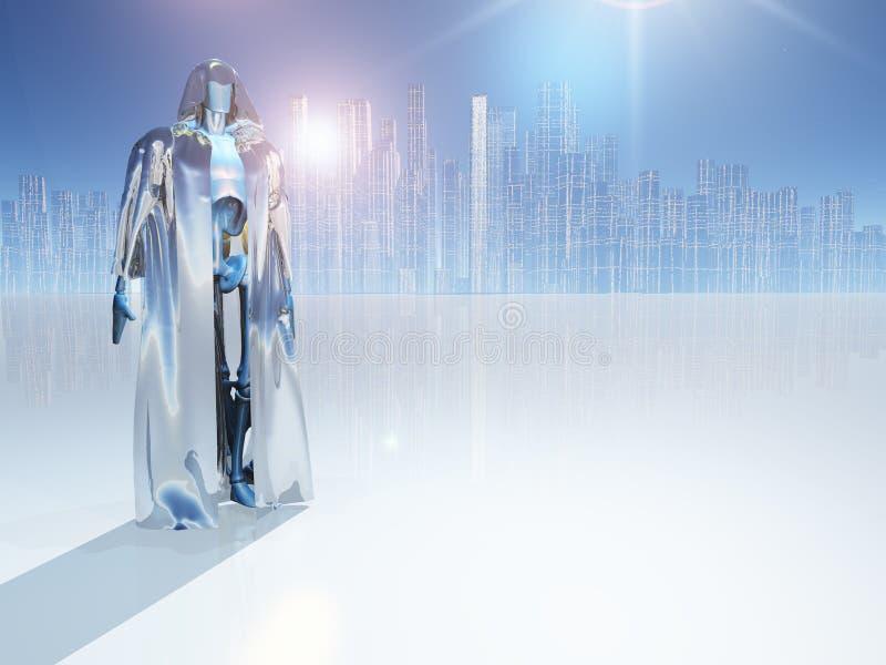 Робот перед городом иллюстрация вектора