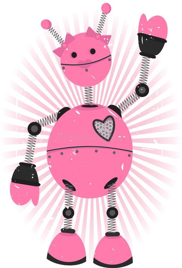 робот пинка grunge девушки иллюстрация вектора