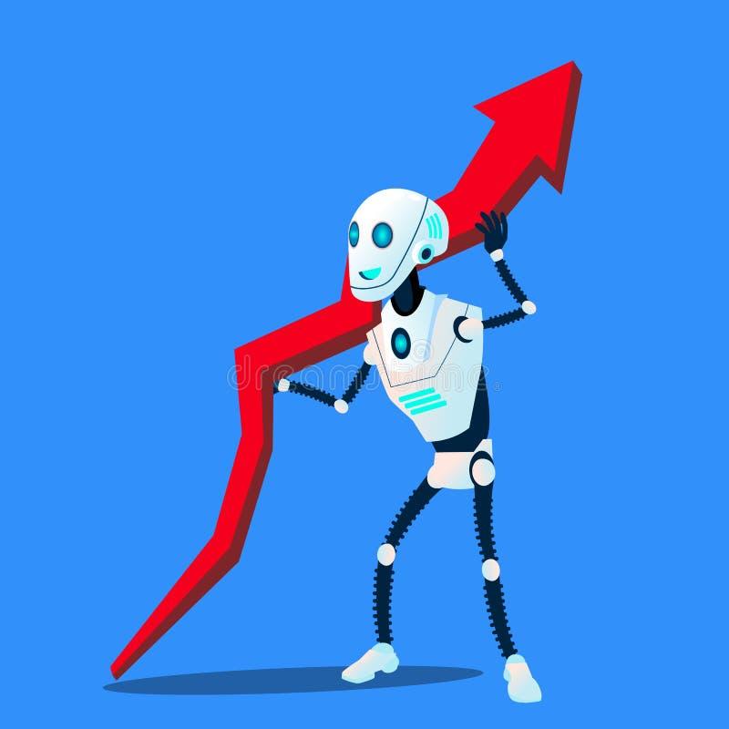 Робот поднимает вверх вектор диаграммы тенденции дела изолированная иллюстрация руки кнопки нажимающ женщину старта s иллюстрация вектора