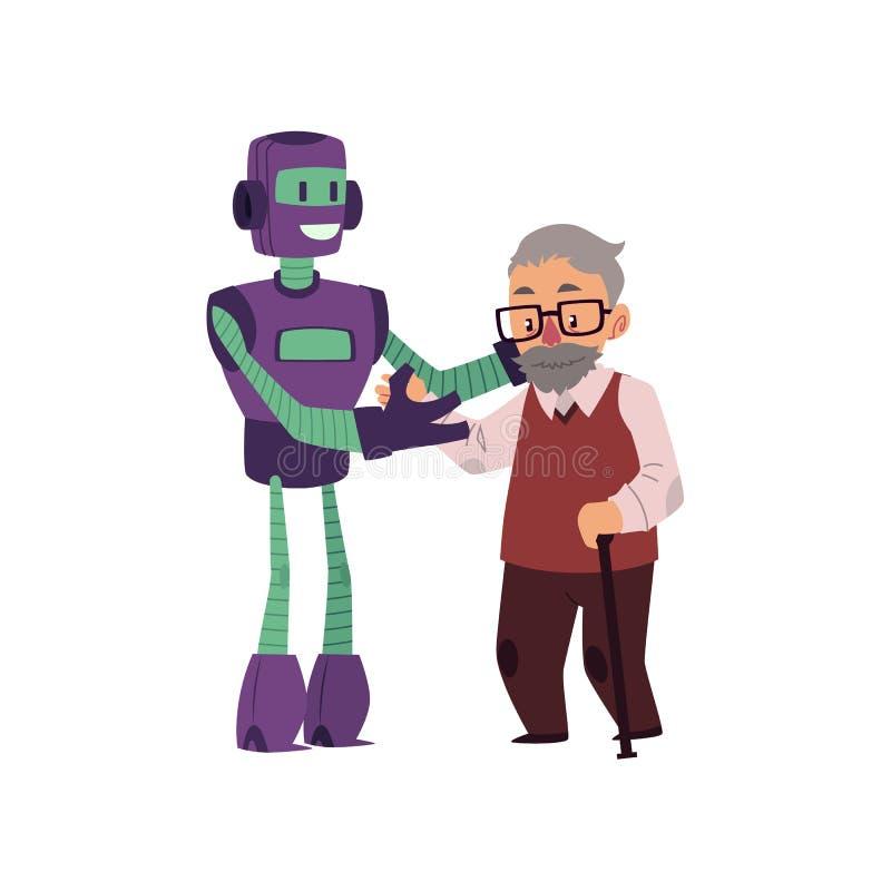 Робот помогающ старый, старший человек с тросточкой идти иллюстрация штока