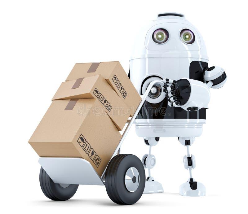 Робот поставки изолировано Содержит путь клиппирования иллюстрация штока