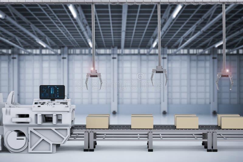 Робот подготовляет с коробками на транспортере в фабрике иллюстрация вектора