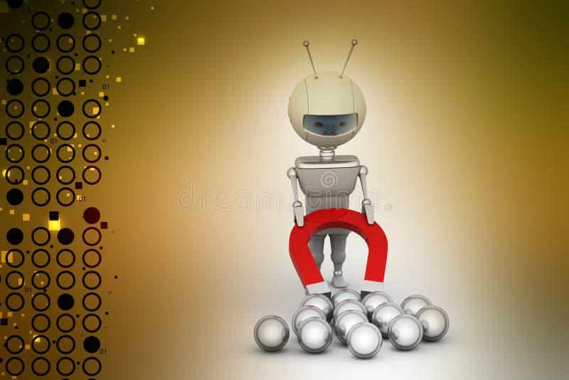 Робот привлекая железный шарик иллюстрация вектора