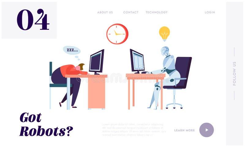 Робот работая вся страница посадки времени Характер спать на рабочем месте Машина может информация о процессе постоянн без остана бесплатная иллюстрация