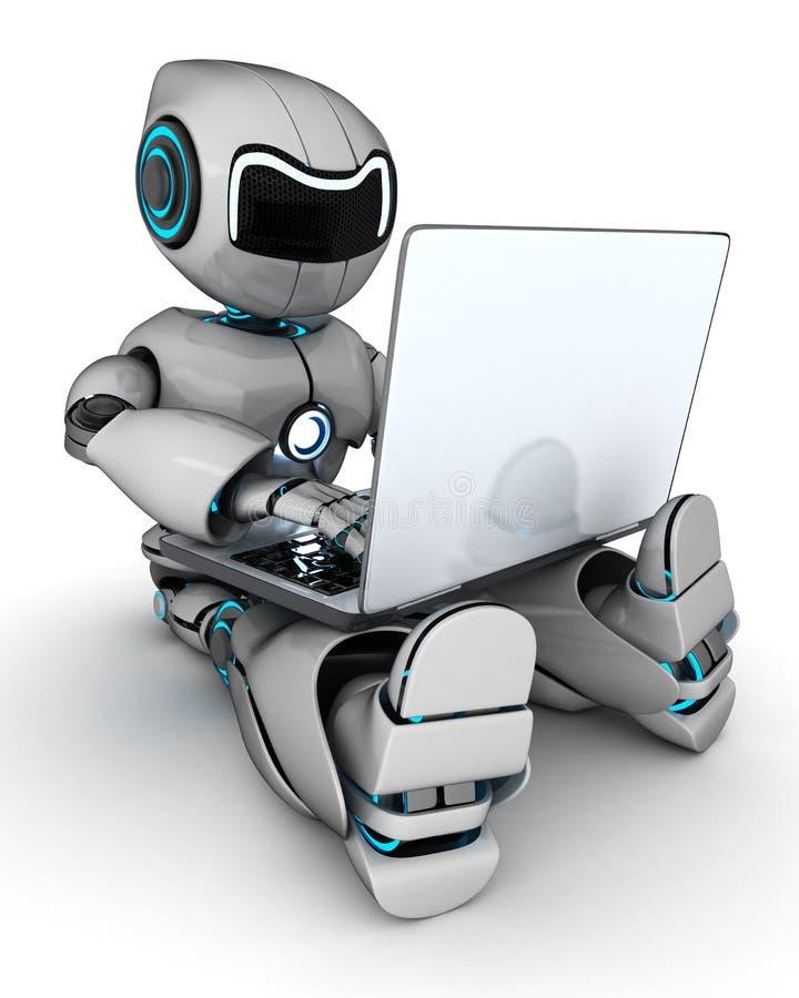 Робот работая на компьтер-книжке иллюстрация штока