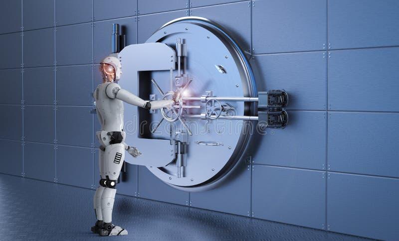 Робот работая с банковским хранилищем иллюстрация вектора