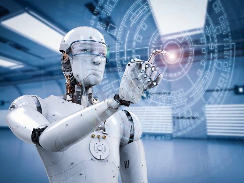 Робот работая с виртуальным дисплеем иллюстрация вектора