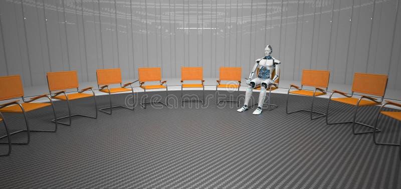 Робот сидит в футуристической комнате иллюстрация штока