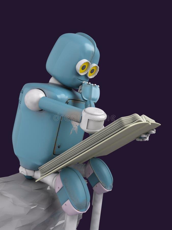 Робот сидит на камне и читает книгу 3d представьте иллюстрация вектора