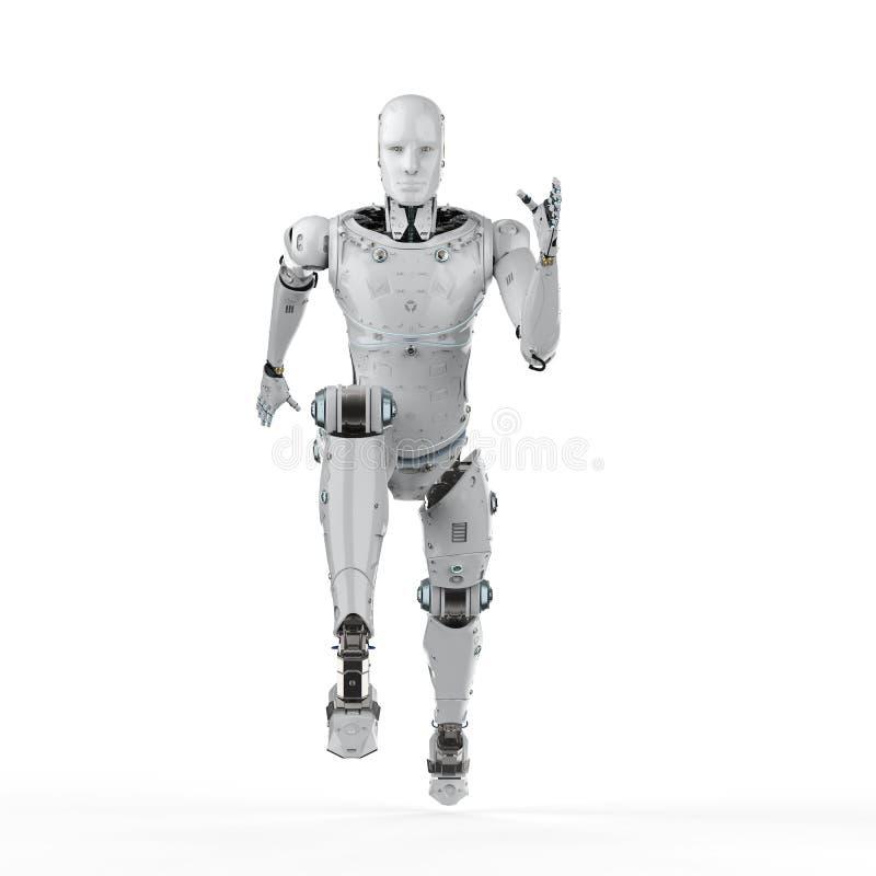 Робот скача или бежать иллюстрация вектора
