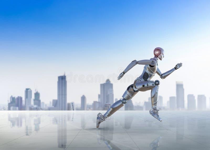 Робот скача или бежать бесплатная иллюстрация