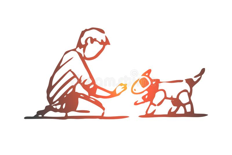Робот, собака, ребенок, игрушка, концепция технологии r иллюстрация штока