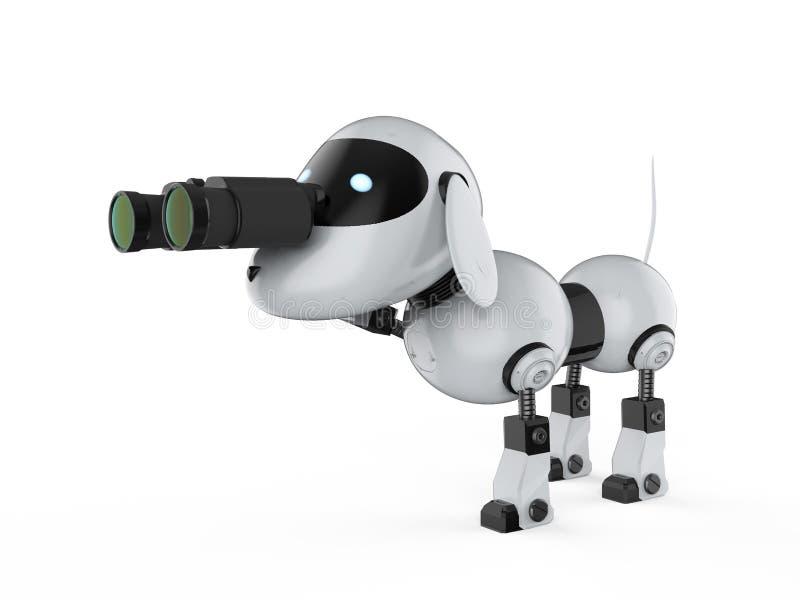 Робот собаки с биноклями иллюстрация вектора