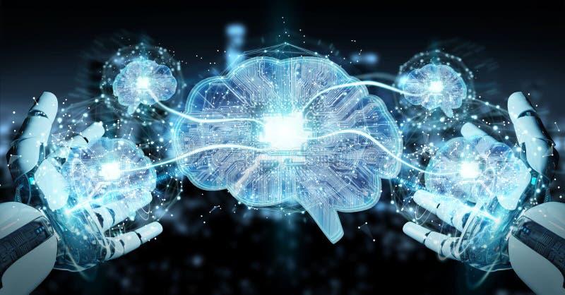 Робот создавая искусственный интеллект в цифровом мозге 3D ren иллюстрация вектора