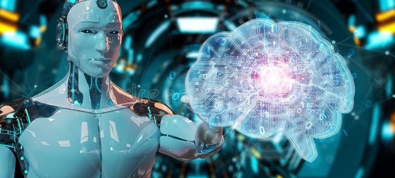 Робот создавая искусственный интеллект в цифровом мозге 3D ren бесплатная иллюстрация