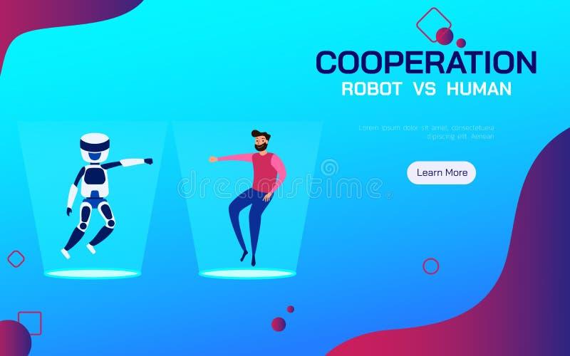 Робот сотрудничества и человеческое Искусственный интеллект и человек AI сотрудничают работающ бесплатная иллюстрация