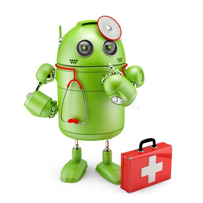 Робот сотрудник военно-медицинской службы иллюстрация вектора