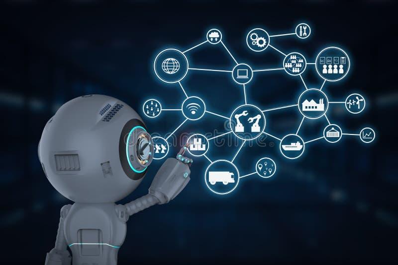 Робот со значками технологии бесплатная иллюстрация