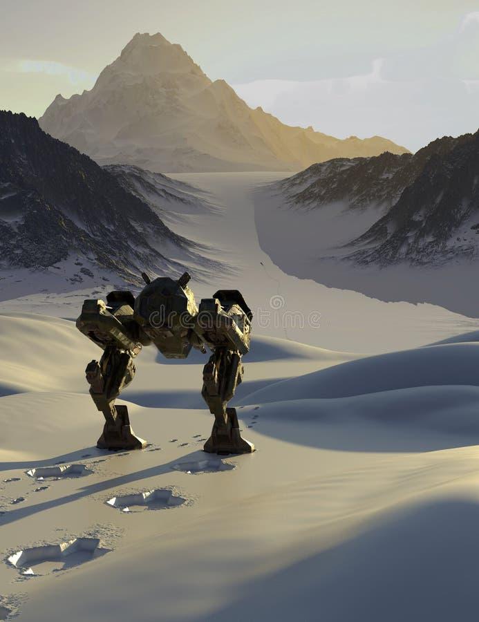Робот сражения отслеживая через горы Snowy иллюстрация вектора