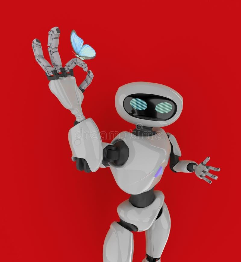 Робот с бабочкой 3d представляет иллюстрация вектора