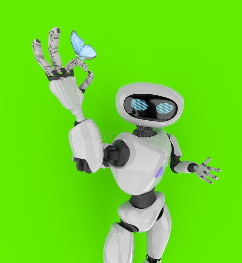Робот с бабочкой 3d представляет бесплатная иллюстрация