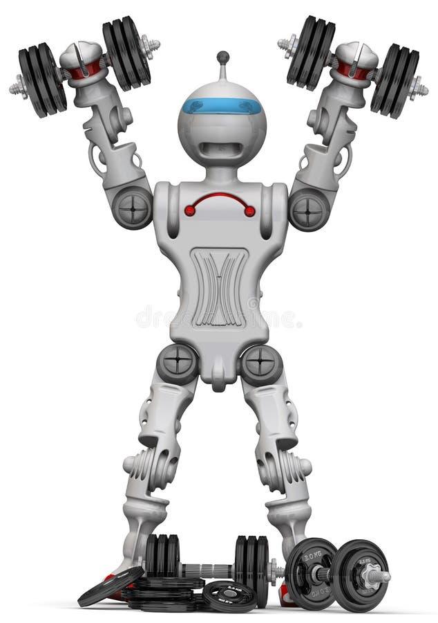 Робот с гантелями бесплатная иллюстрация