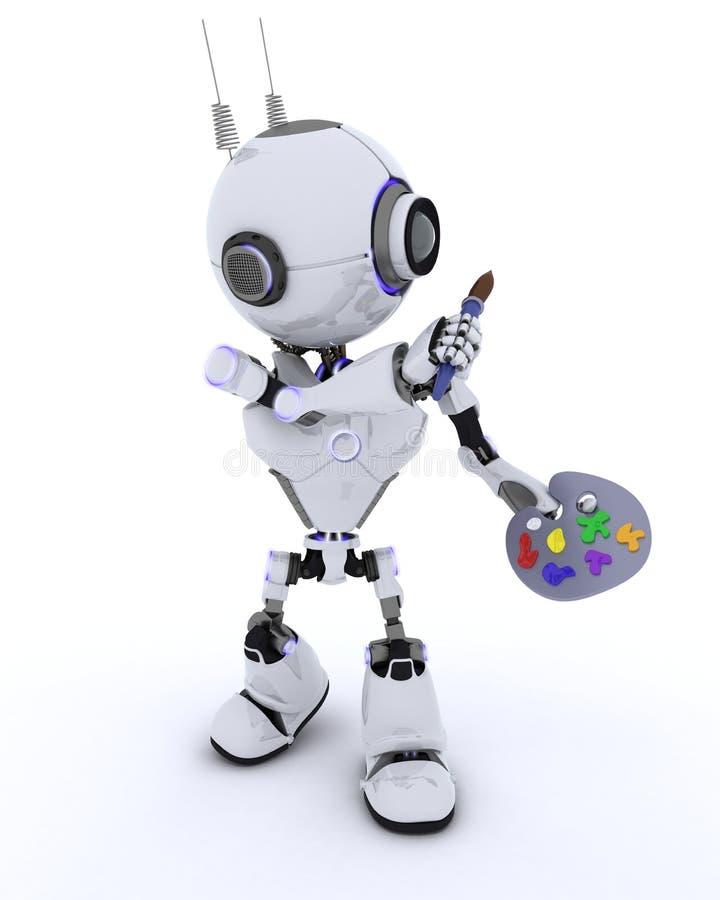 Робот с кистью и палитрой бесплатная иллюстрация