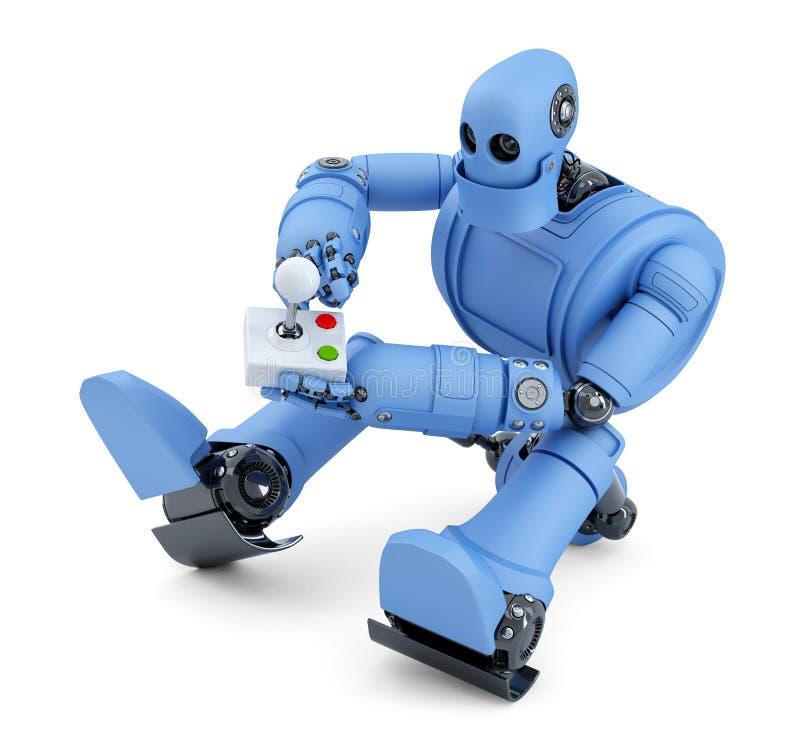 Робот с кнюппелем Содержит путь клиппирования иллюстрация штока