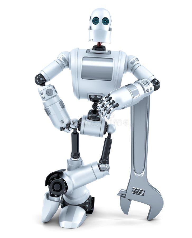 Робот с ключем изолированная принципиальной схемой белизна технологии изолировано Содержит путь клиппирования иллюстрация вектора