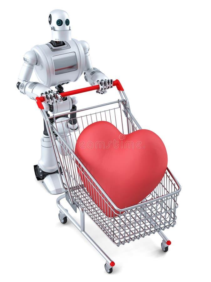 Робот с магазинной тележкаой и огромное красное сердце в ем изолировано Содержит путь клиппирования иллюстрация вектора