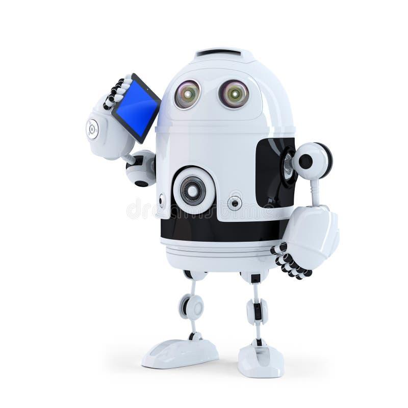 Робот с мобильным телефоном бесплатная иллюстрация