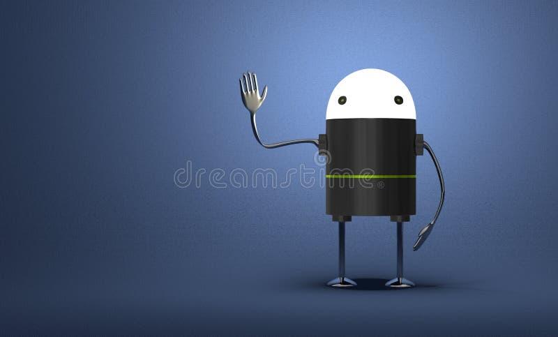 Робот с накаляя головной развевая рукой иллюстрация вектора