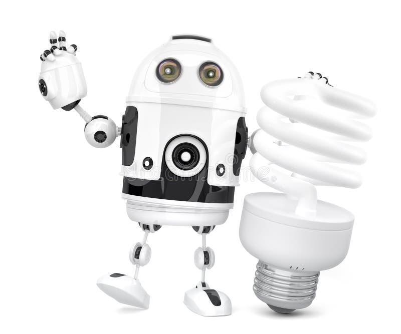 Робот с дневной электрической лампочкой иллюстрация 3d изолировано Co иллюстрация штока