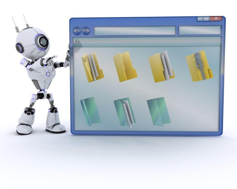 Робот с окном компьютера иллюстрация вектора