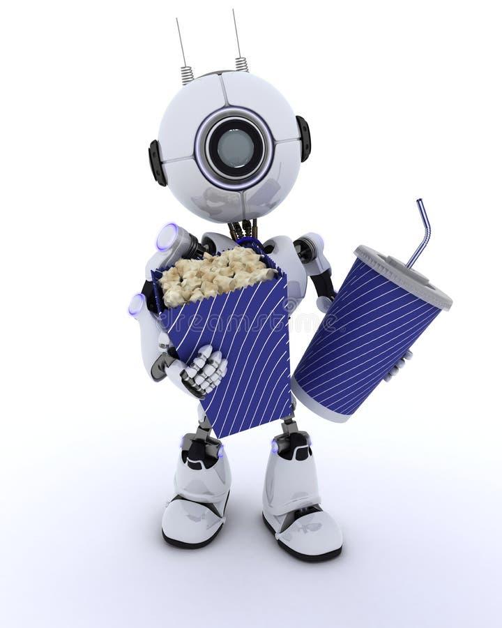 Робот с попкорном и содой бесплатная иллюстрация