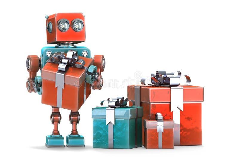 Робот с подарочными коробками изолировано Содержит путь клиппирования бесплатная иллюстрация