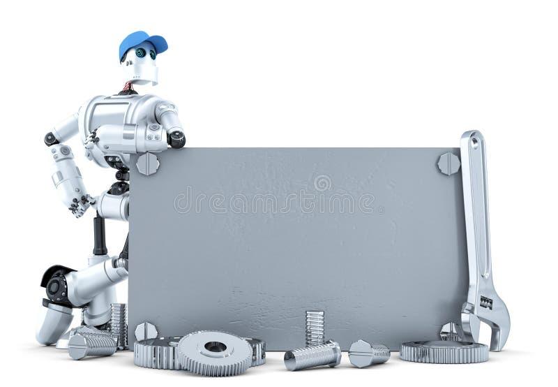 Робот с пустым металлическим знаменем Содержит путь клиппирования иллюстрация штока