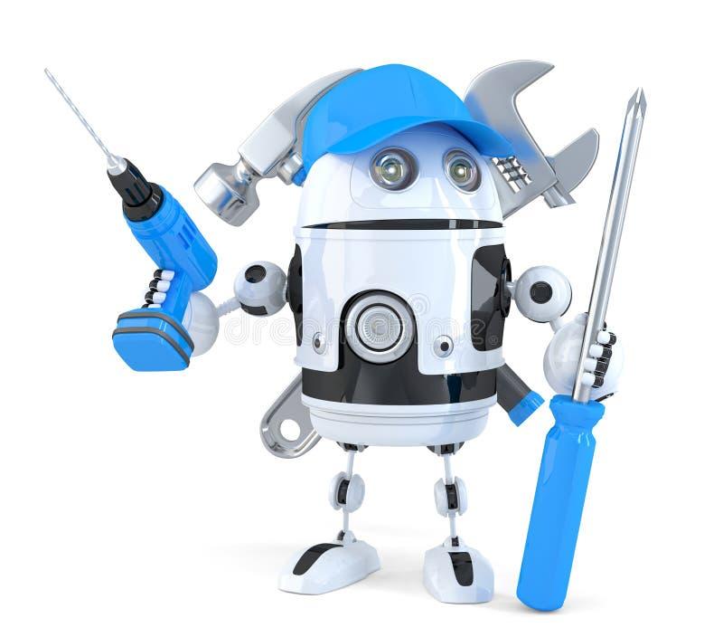 Робот с различными инструментами изолированная принципиальной схемой белизна технологии Содержит путь клиппирования иллюстрация штока
