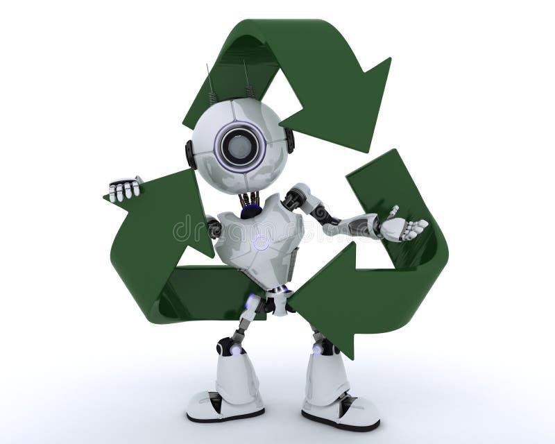 Робот с рециркулировать символ иллюстрация штока