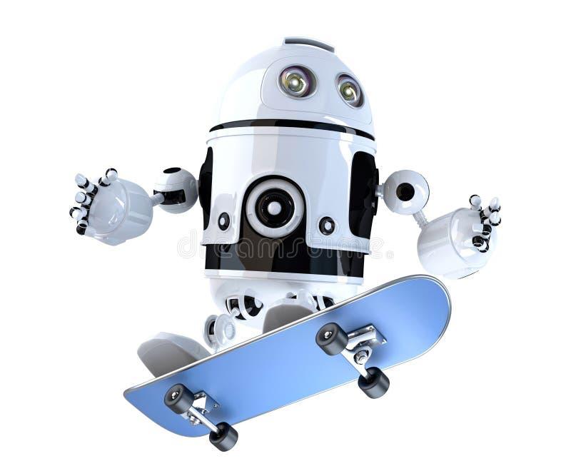 Робот с скейтбордом изолированная принципиальной схемой белизна технологии иллюстрация 3d cont бесплатная иллюстрация