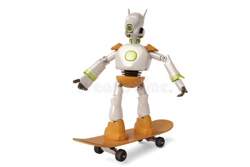 Робот с скейтбордом, иллюстрацией 3D иллюстрация штока