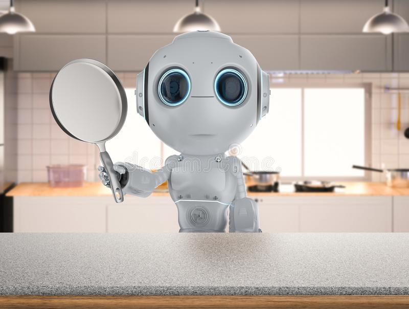 Робот с сковородой иллюстрация вектора