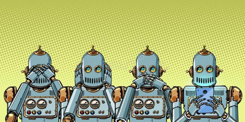 Робот с телефоном, концепцией наркомании интернета не увидеть слышать скажите иллюстрация вектора