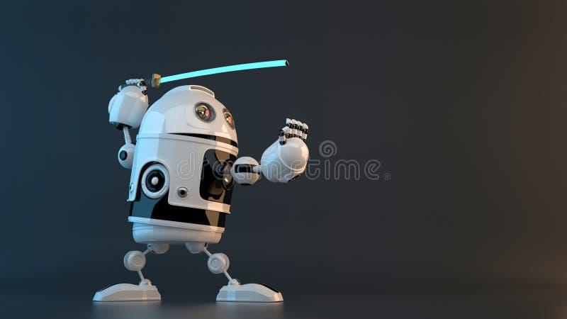 Робот с шпагой Katana изолированная принципиальной схемой белизна технологии Содержит путь клиппирования иллюстрация штока