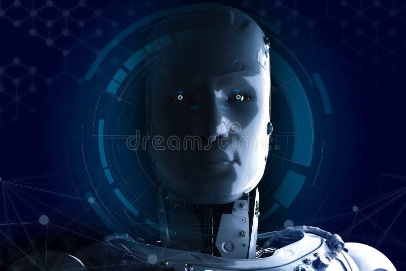 Робот с hud иллюстрация вектора