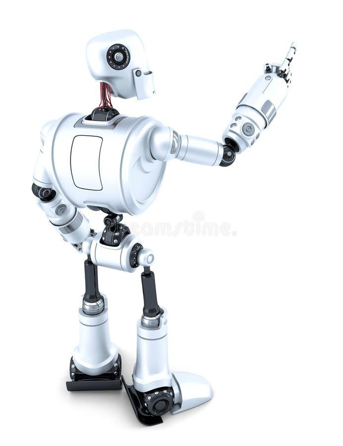 Робот указывая на незримый объект Взгляд со стороны изолировано Содержит путь клиппирования бесплатная иллюстрация