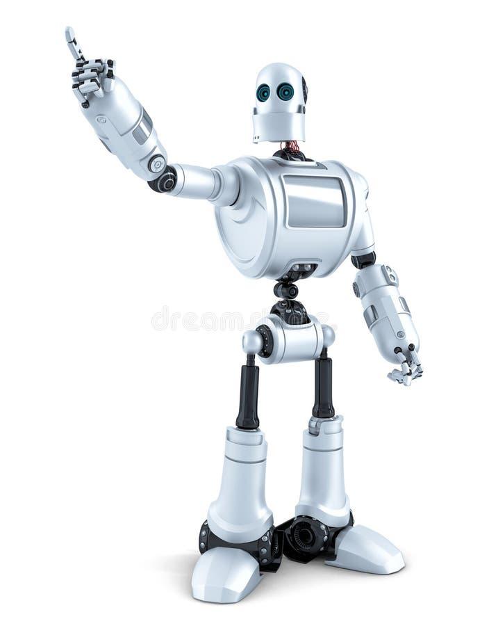 Робот указывая на незримый объект изолировано Содержит путь клиппирования иллюстрация вектора