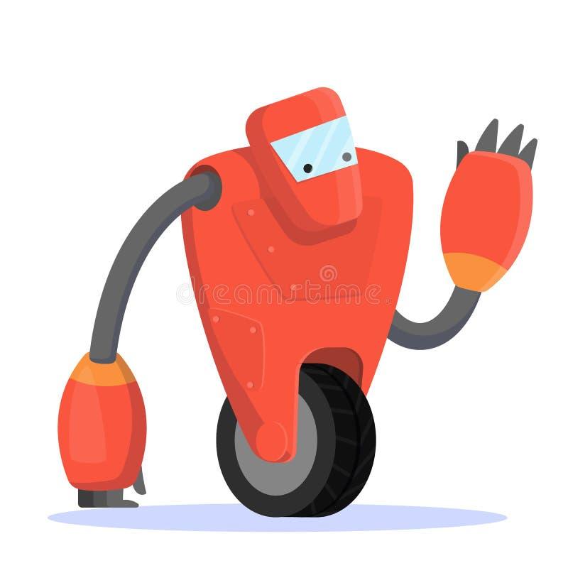Робот, футуристический характер красного цвета Идея автоматизации иллюстрация вектора