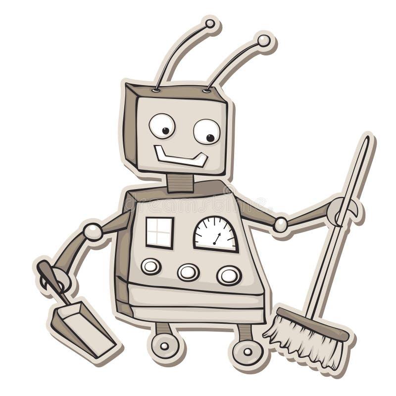 робот чистки иллюстрация вектора